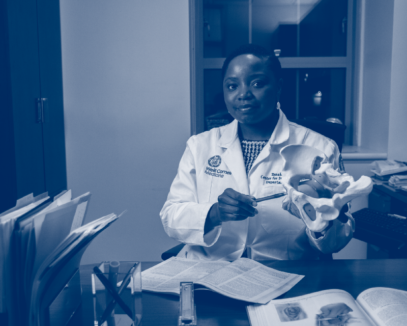 Dr. Dune in Office With Anatomic Model of Pelvis